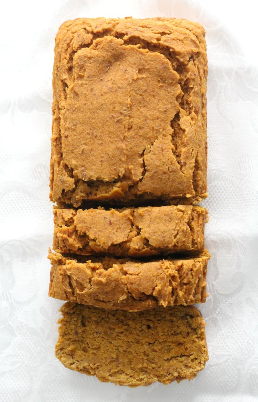 overhead view of sliced gluten-free pumpkin bread
