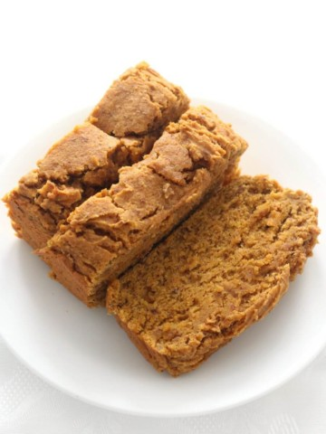 overhead view of three slices of gluten-free pumpkin bread