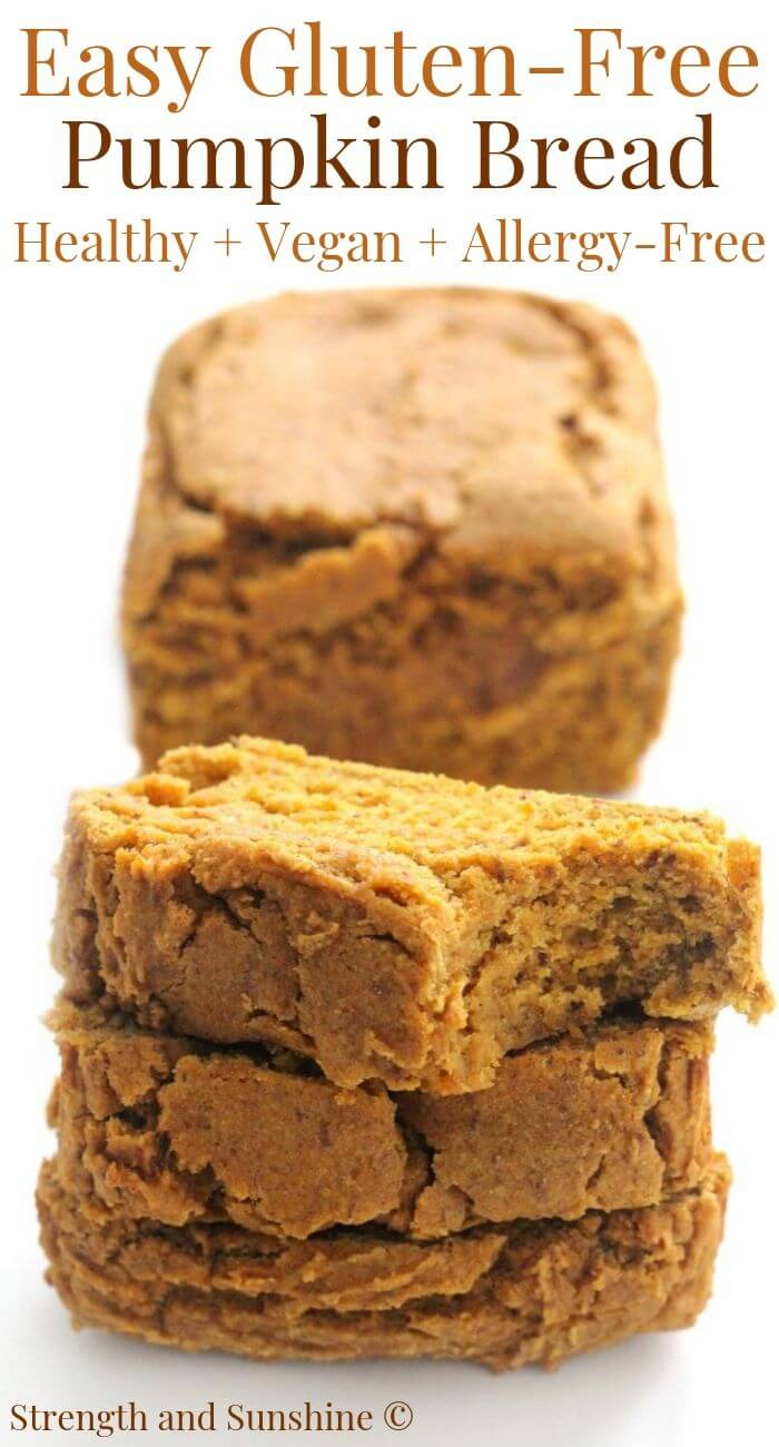 stacked slices of gluten-free pumpkin bread with image text