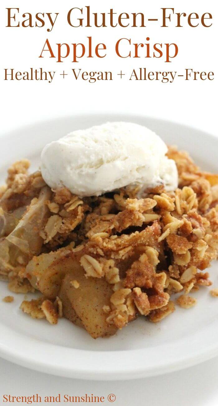 close-up of gluten-free apple crisp with ice cream