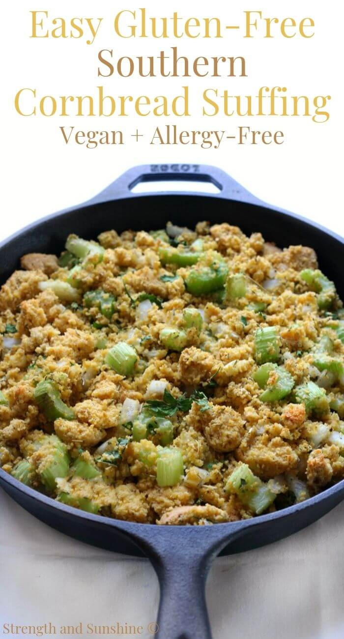 cast iron skillet of gluten-free cornbread stuffing with image text