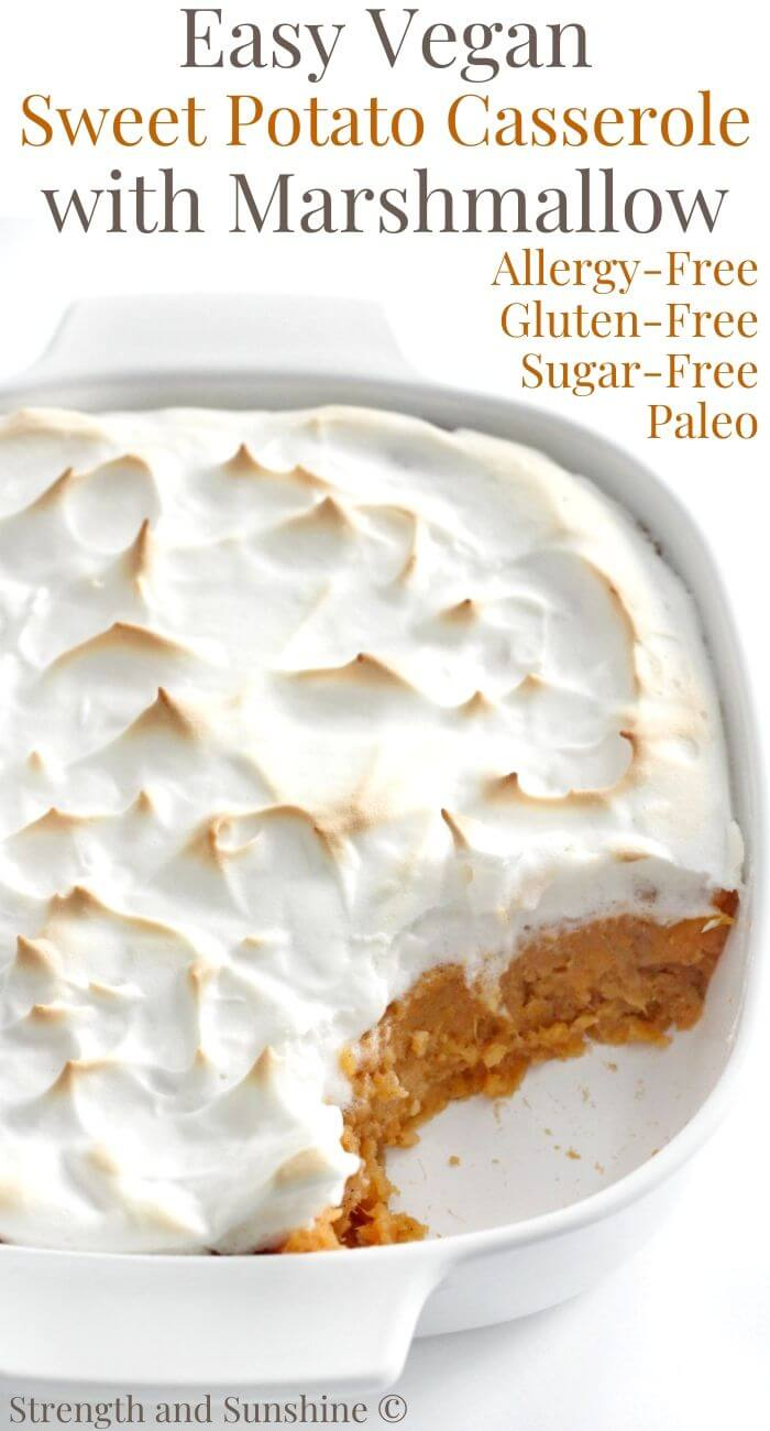 vegan sweet potato casserole with marshmallow image text