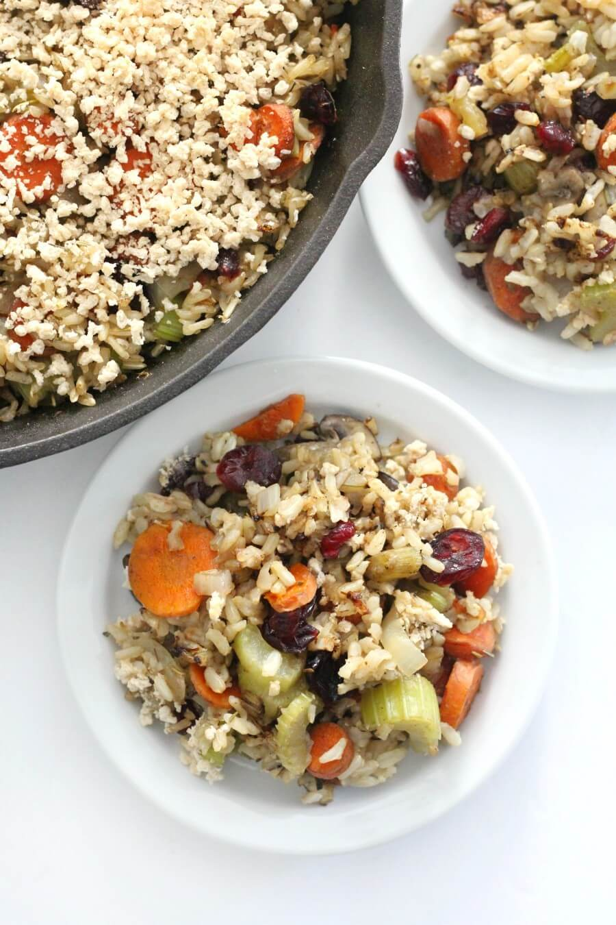 cast iron skillet with brown rice stuffing casserole