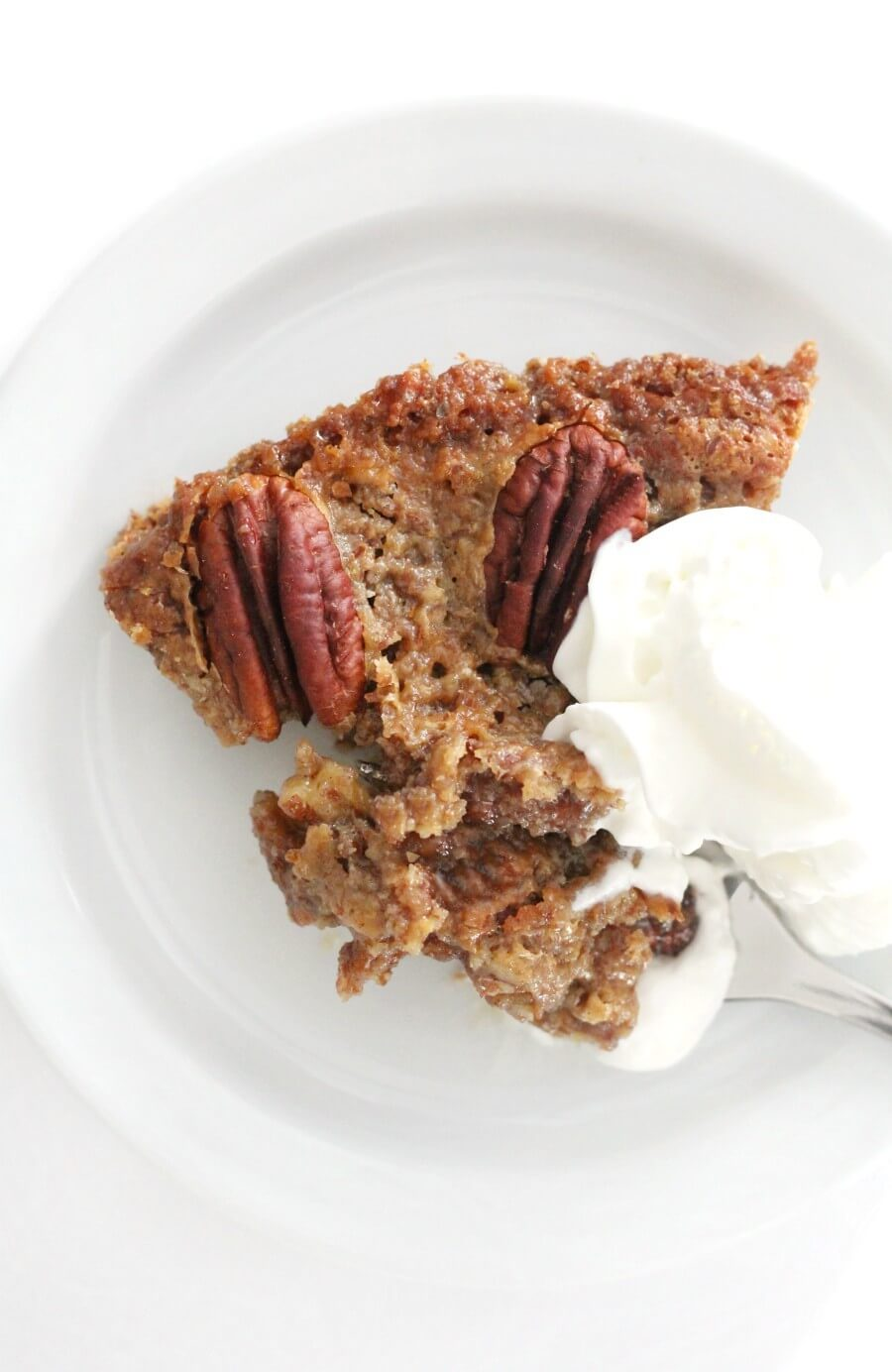 crustless pecan pie with vegan whipped cream