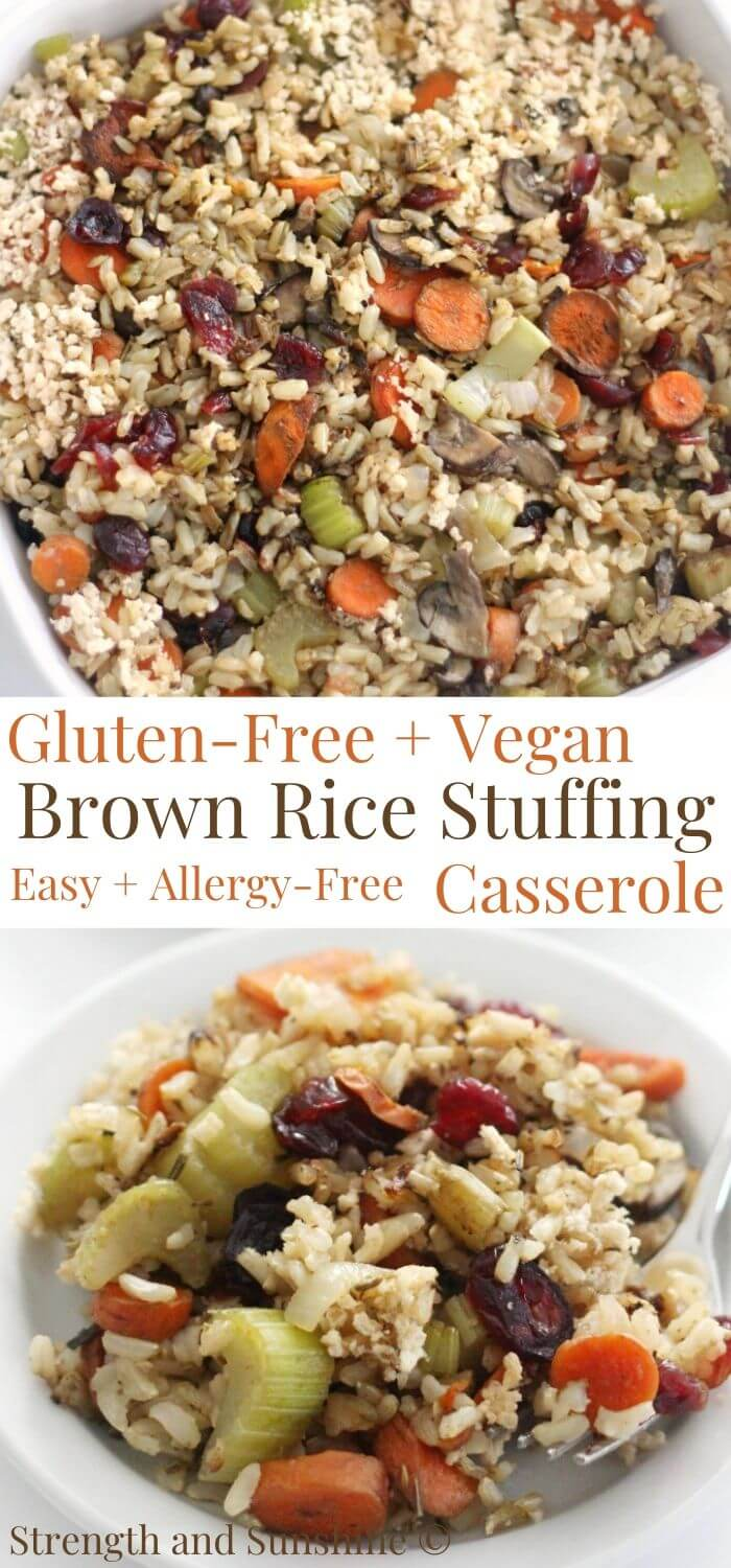 collage image of gluten-free brown rice stuffing casserole with image text
