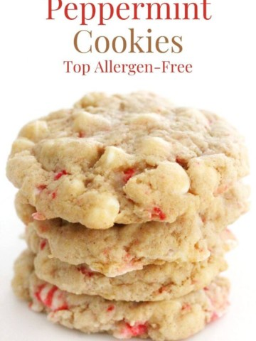 stack of vegan white chocolate peppermint cookies with image text