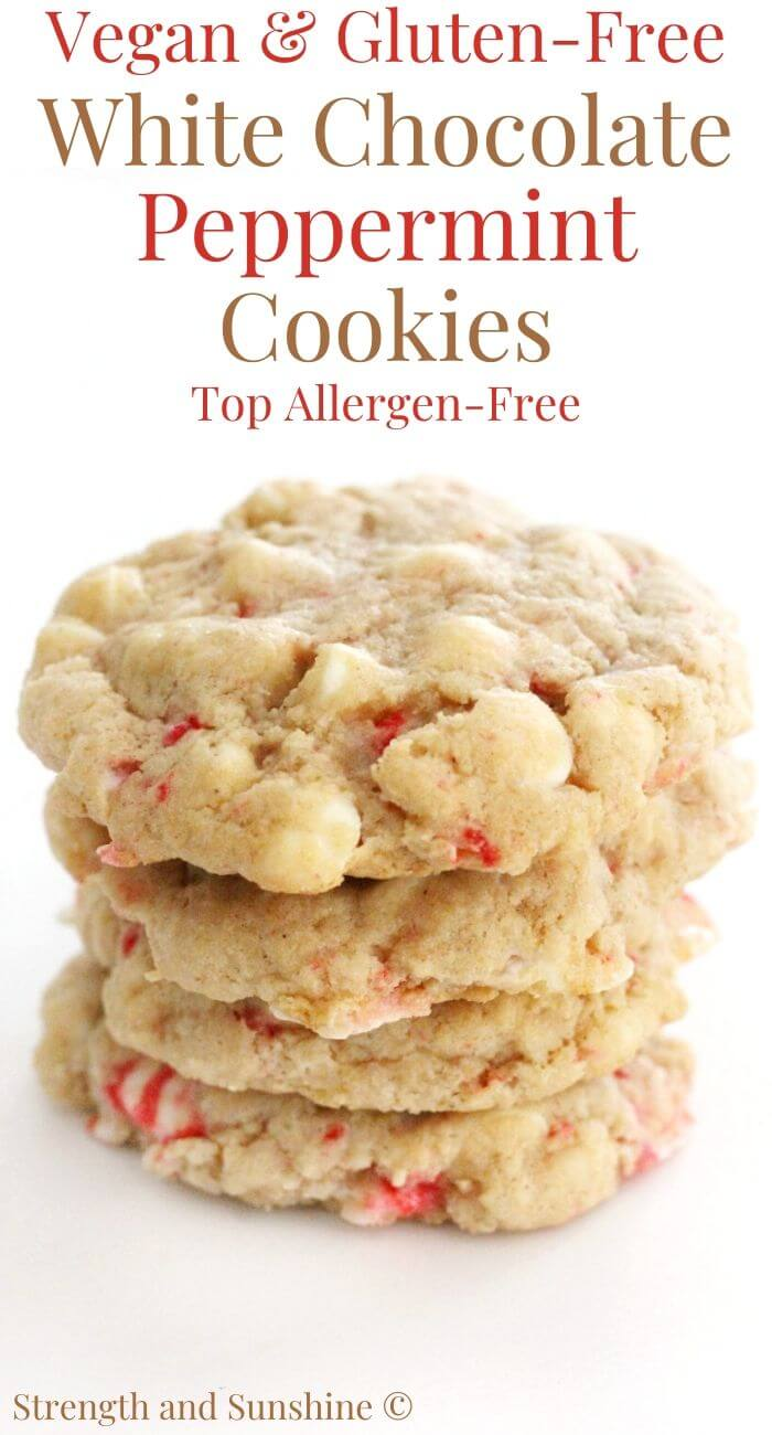 Vegan White Chocolate Peppermint Cookies Gluten Free