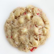 single vegan white chocolate peppermint cookie