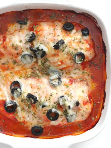 overhead view of dairy-free pizza chicken bake in casserole dish