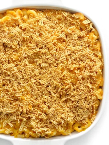 overhead half view of baked vegan mac & cheese