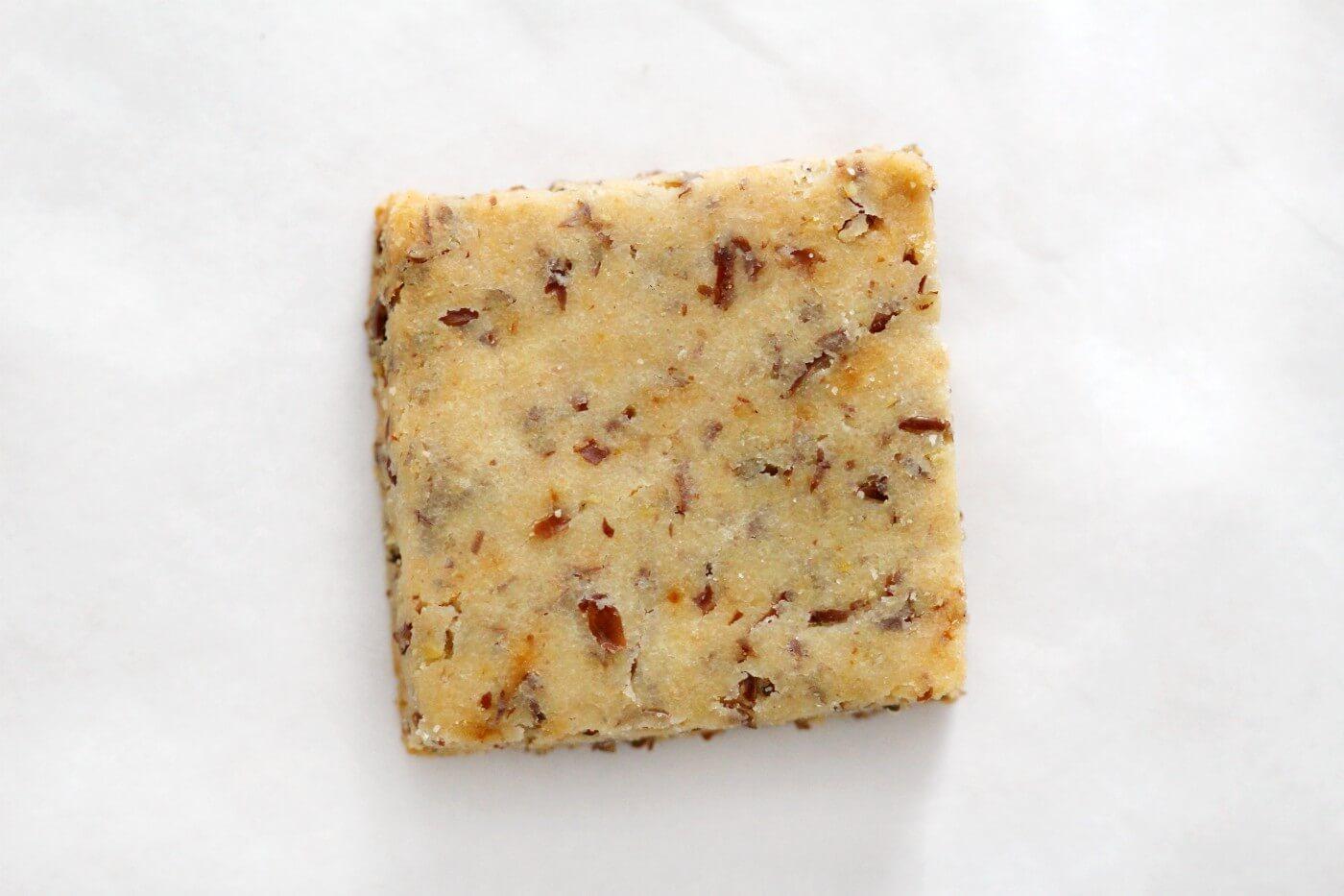 single gluten-free wheat thin cracker close-up
