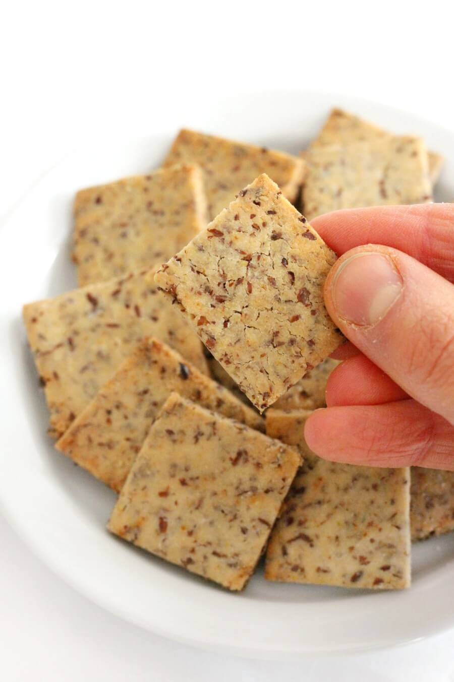 hand holding a gluten-free wheat thin cracker
