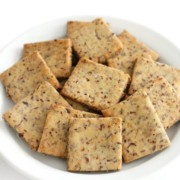 white plate filled with gluten-free wheat thins crackers