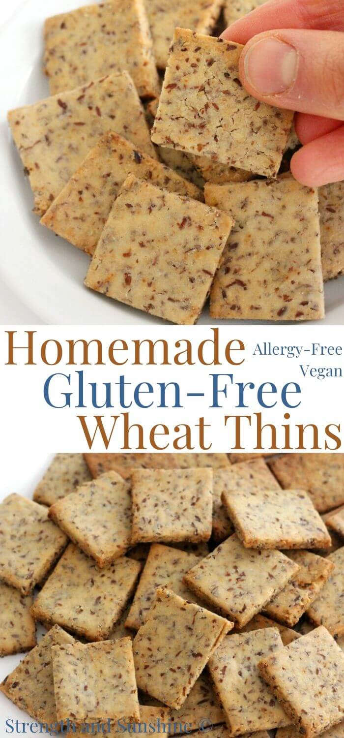 collage image of gluten-free wheat thins with image text