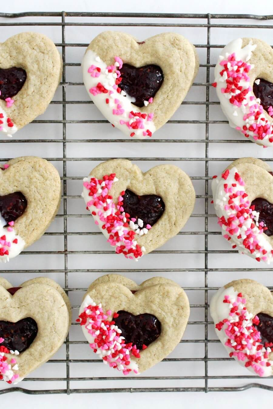 gluten-free valentine's day heart cookies cooling on a wire rack