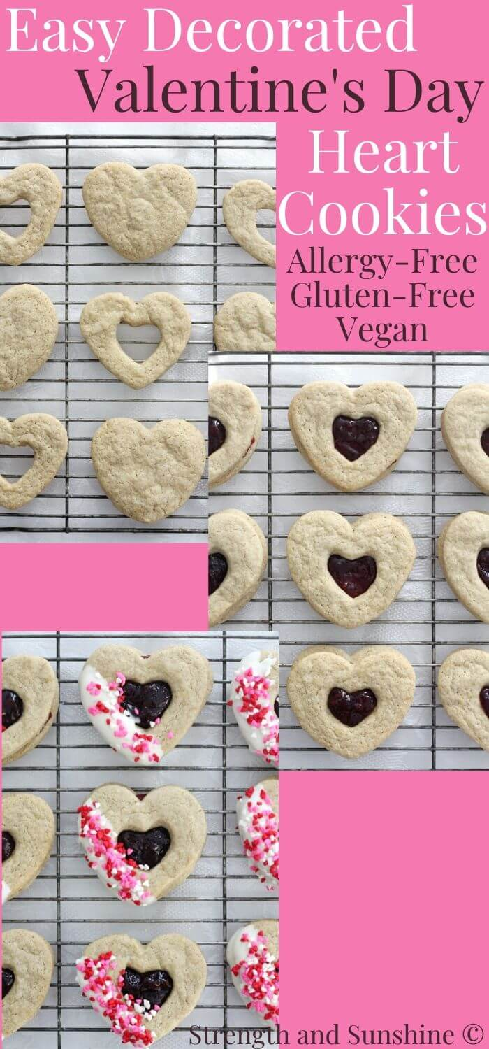 collage image of gluten-free valentine's day heart cookies in three steps