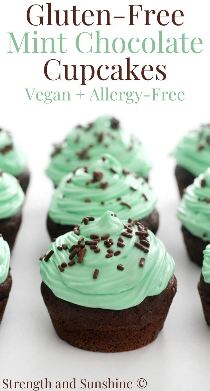 gluten-free mint chocolate cupcakes with image text