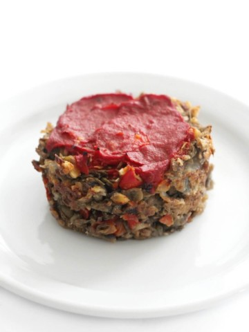 single vegan mini meatloaf on plate