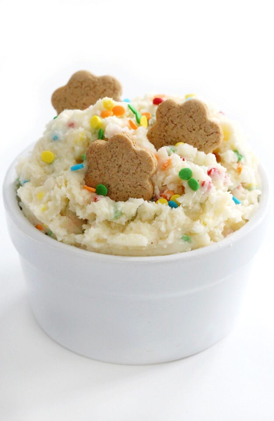 gluten-free dunkaroo cookies in frosting bowl
