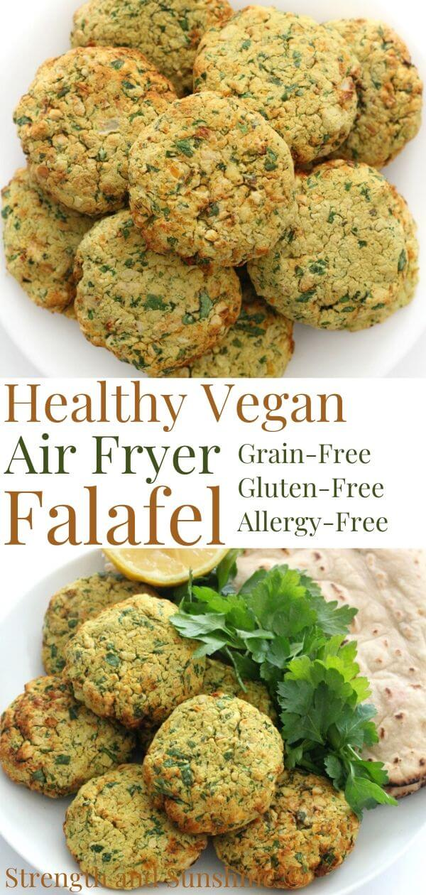 collage image of easy air fryer falafel with image text