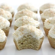 lined up gluten-free coconut cupcakes with bite