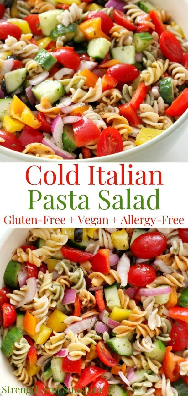 collage image of classic cold Italian pasta salad with image text
