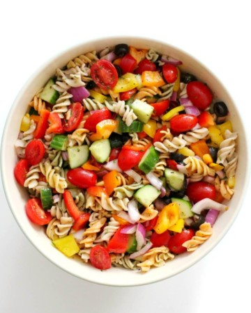 overhead view of finished bowl of vegan classic Italian pasta salad