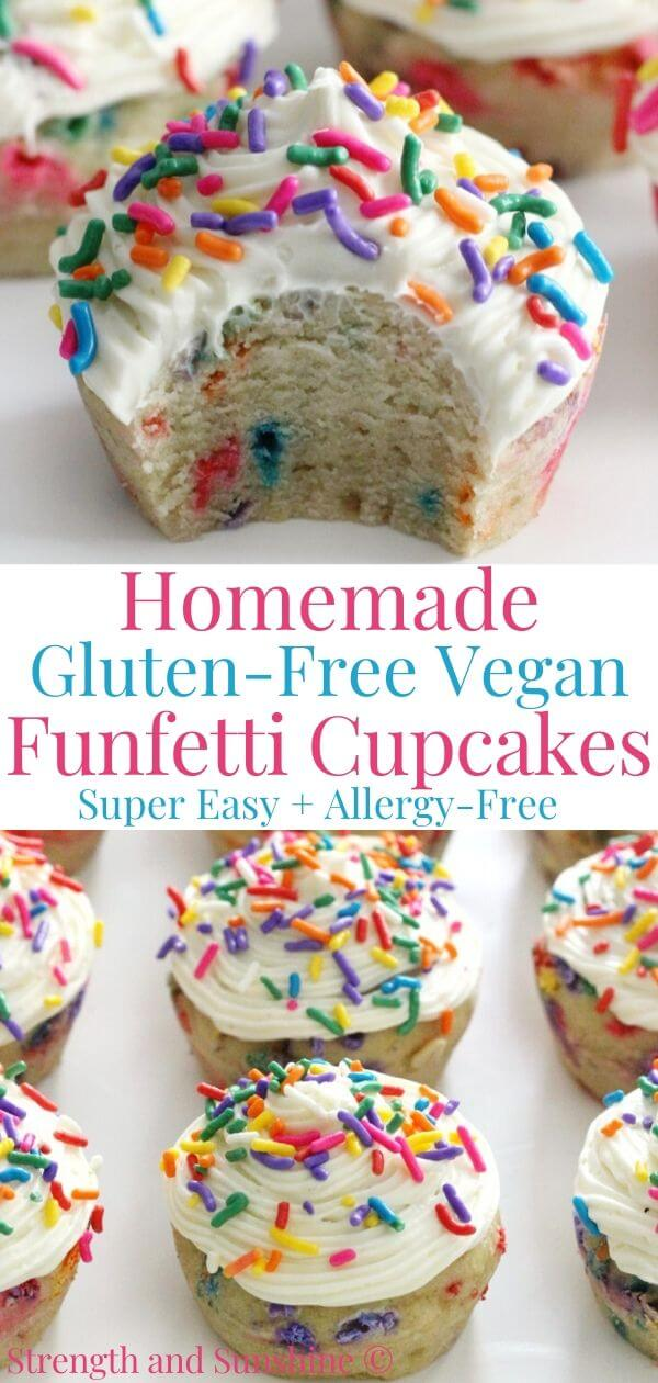 collage image of gluten-free funfetti cupcakes with image text