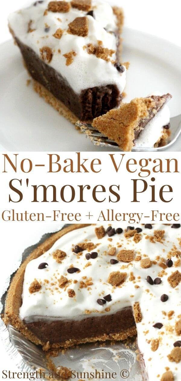 collage image of no-bake vegan s'mores pie with image text