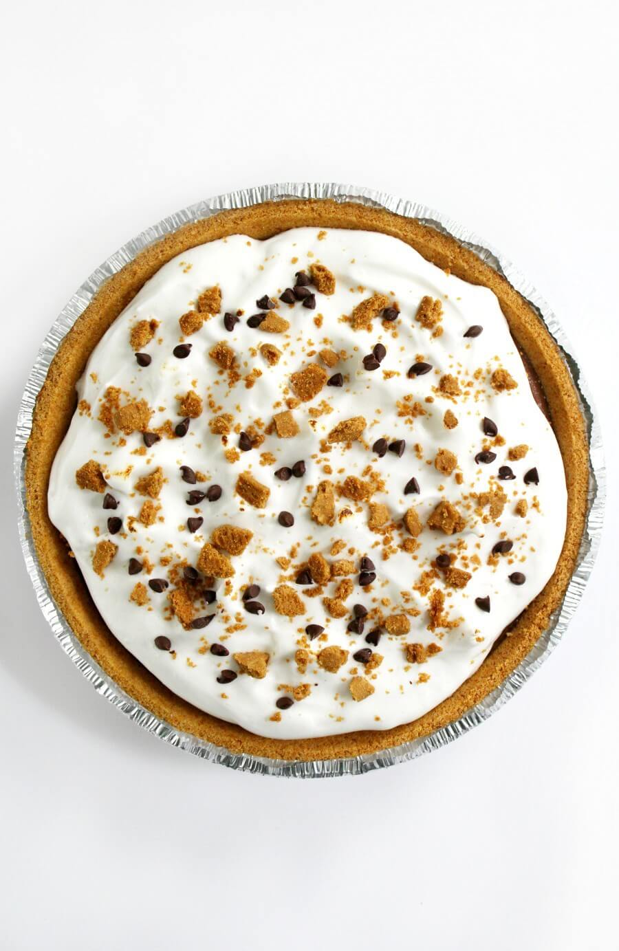 overhead view of finished vegan s'mores pie with toppings