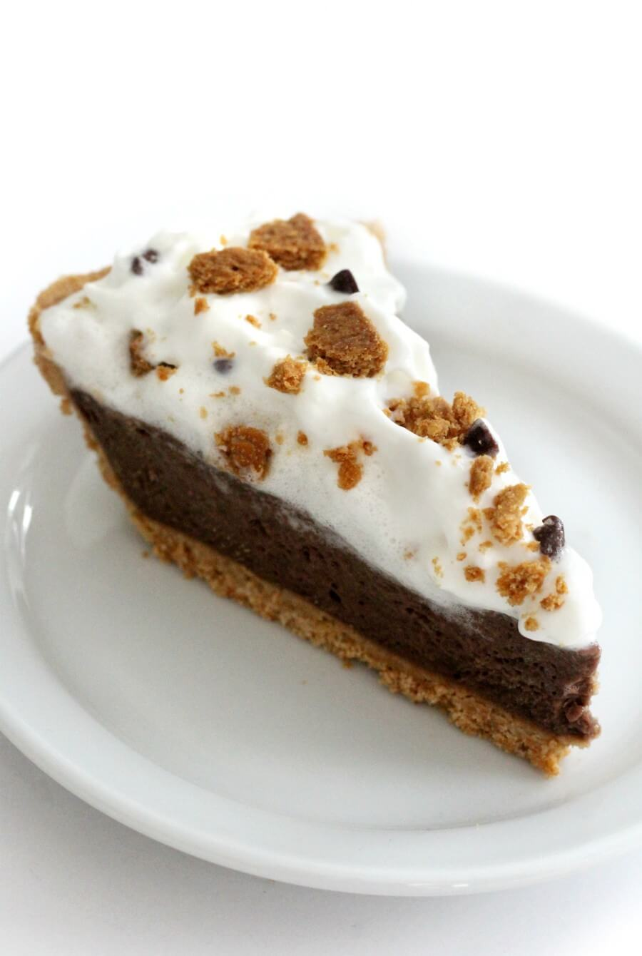 a slice of vegan s'mores pie on white plate