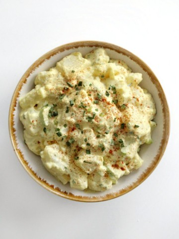 centered overhead view of vegan southern potato salad in bowl