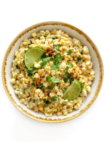 overhead view of bowl of vegan mexican street corn salad