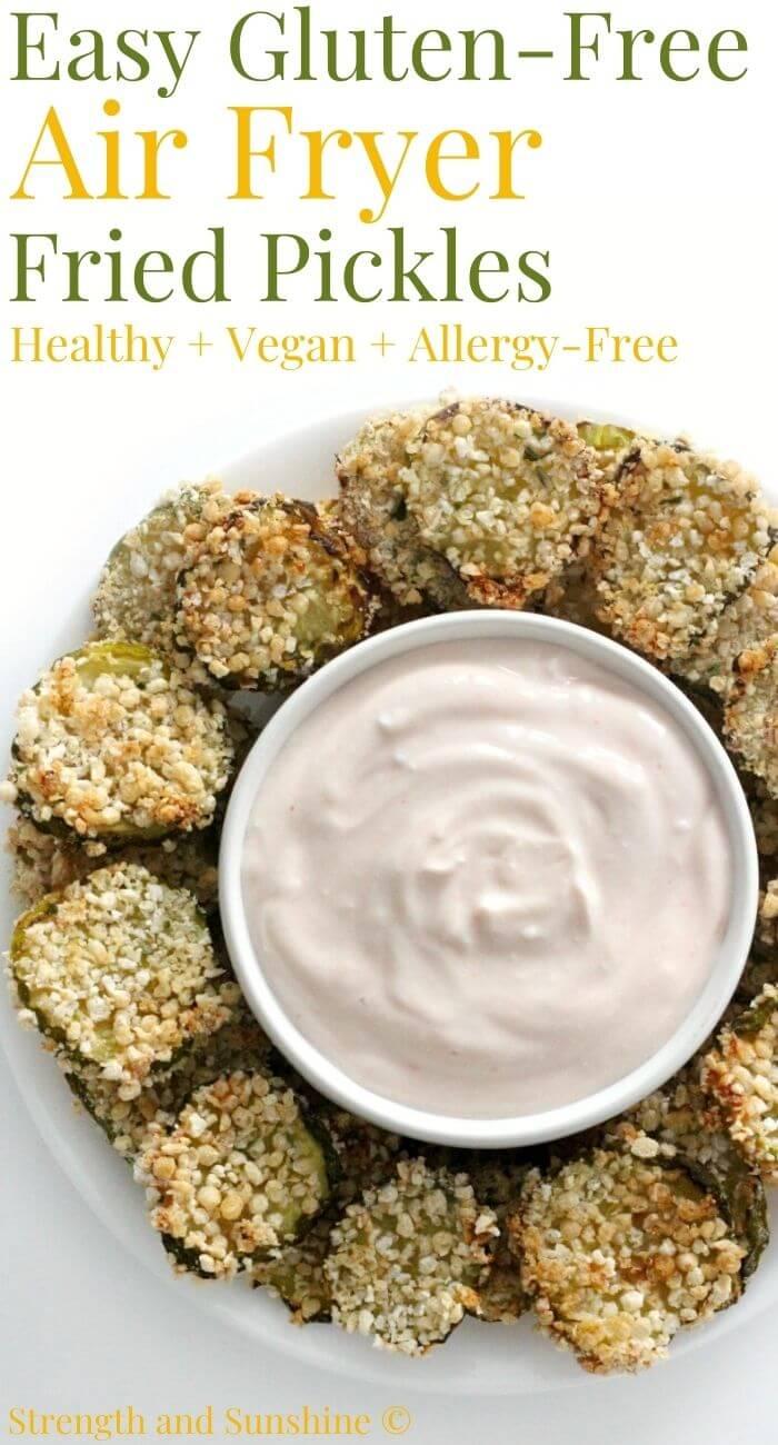 gluten-free air fryer fried pickles on plate with dip includes image text