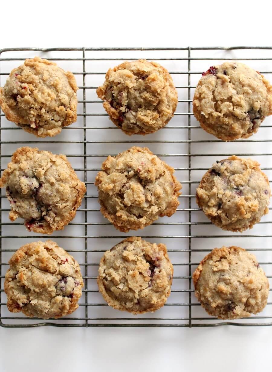 overhead view of gluten-free blackberry muffins on wire rack