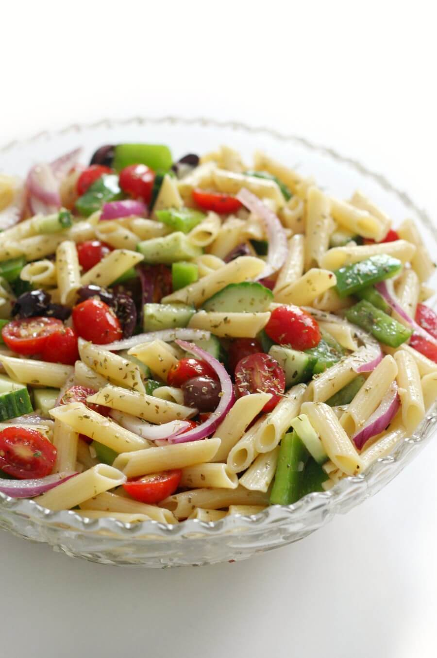 gluten-free greek pasta salad ready to serve in bowl