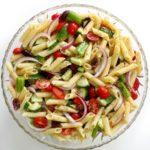 centered overhead view of gluten-free greek pasta salad