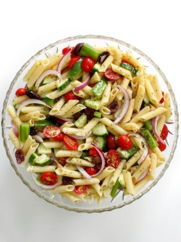 centered overhead view of gluten-free greek pasta salad