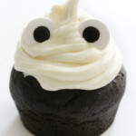 single finished gluten-free ghost cupcake with eyes