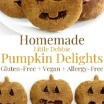 collage image of homemade little debbie pumpkin delights