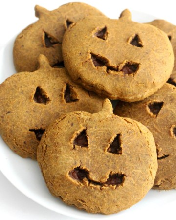 homemade little debbie pumpkin delights cookies in pile on white plate