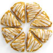 eight iced vegan gluten-free pumpkin scones