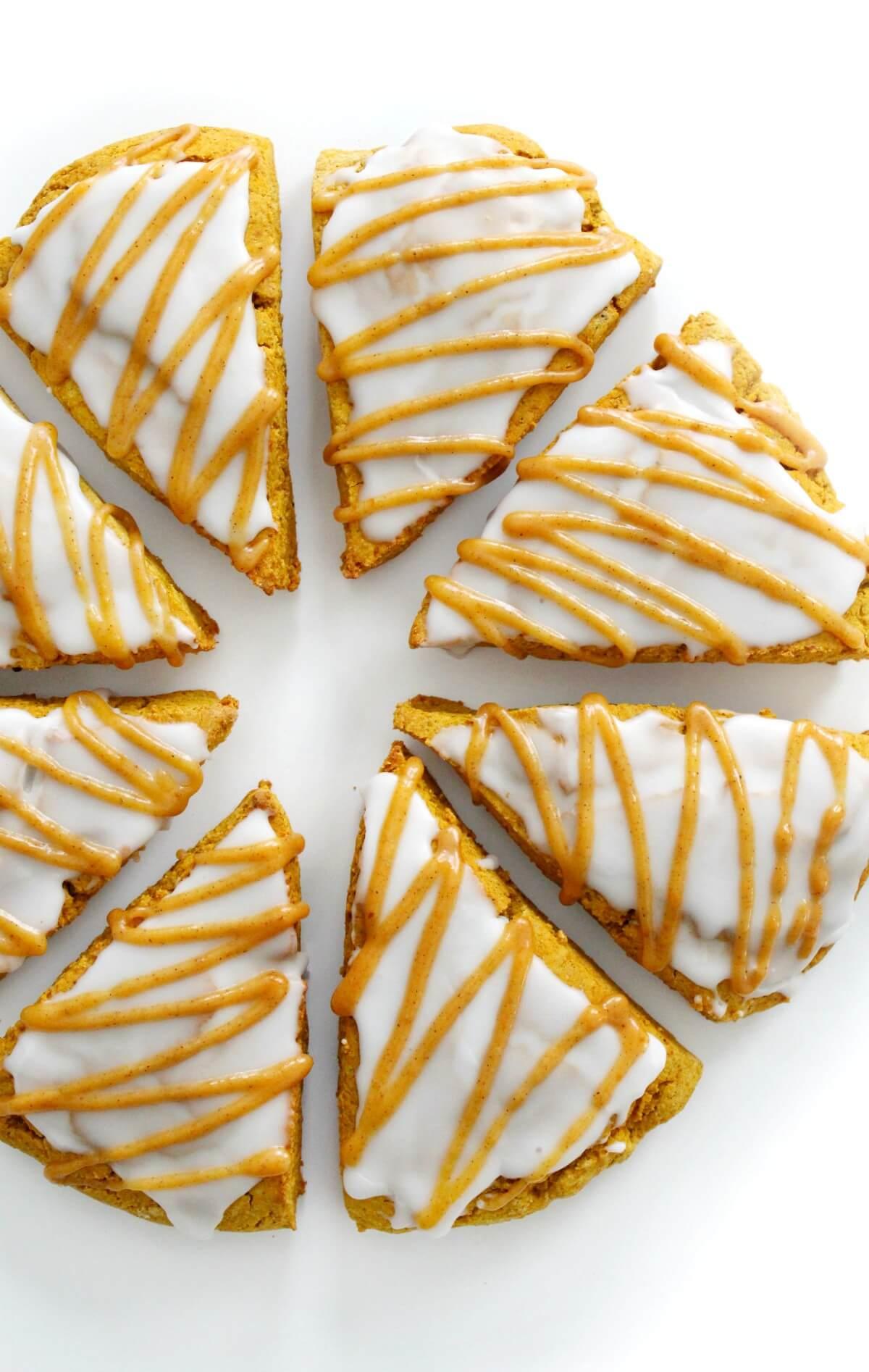 overhead view of gluten-free pumpkin scones