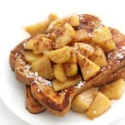 gluten-free apple cinnamon french toast on white plate