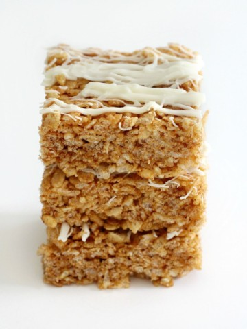 three stacked pumpkin spice rice krispie treats