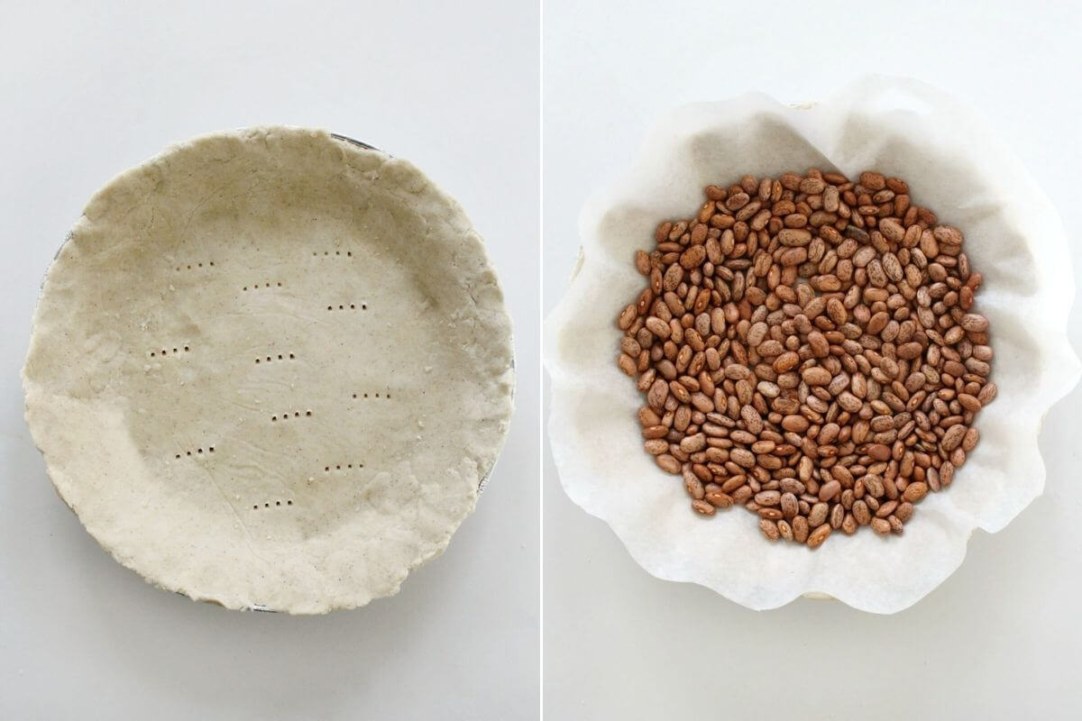 prepping pie crust for blind baking with parchment and dried beans