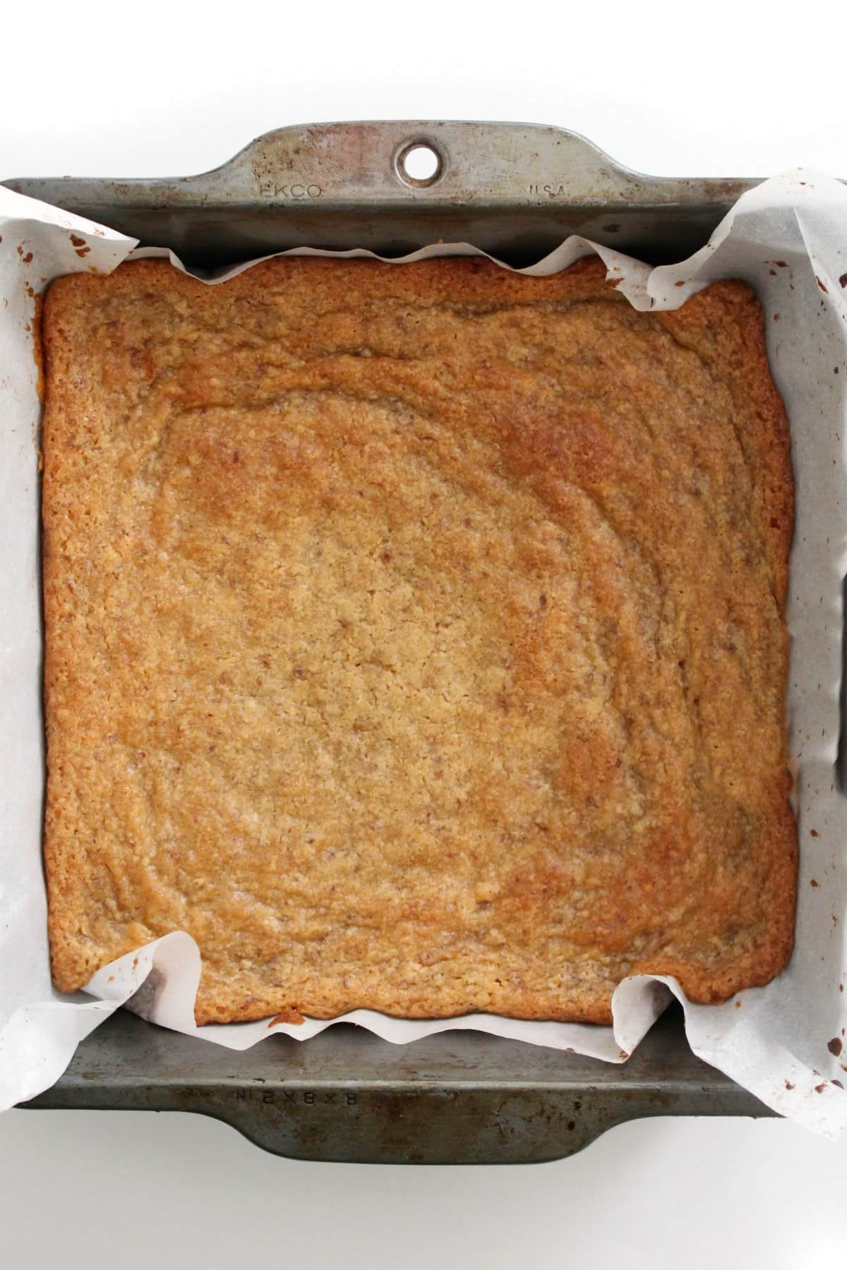 pan of just baked uncut gluten-free maple blondies