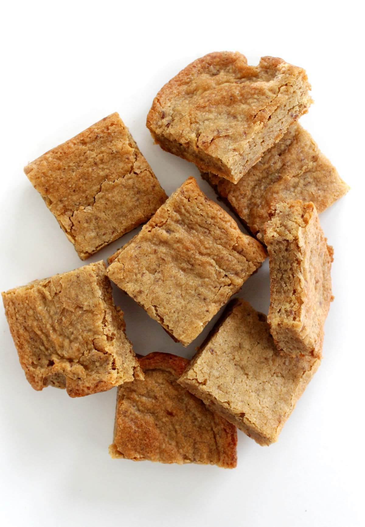 overhead view of pile of cut gluten-free vegan maple blondies