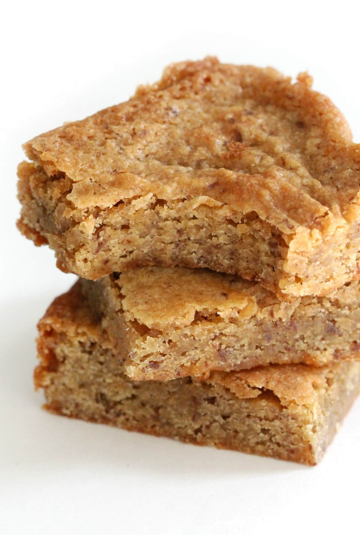close up bite of gluten-free maple blondies