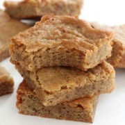 three stacked maple blondies with bite